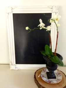 "Here is a recent World Market ""find!""  The chalkboard can be hung or propped in either direction."