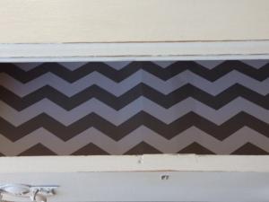 add grey chevron stripes for a modern, glam look