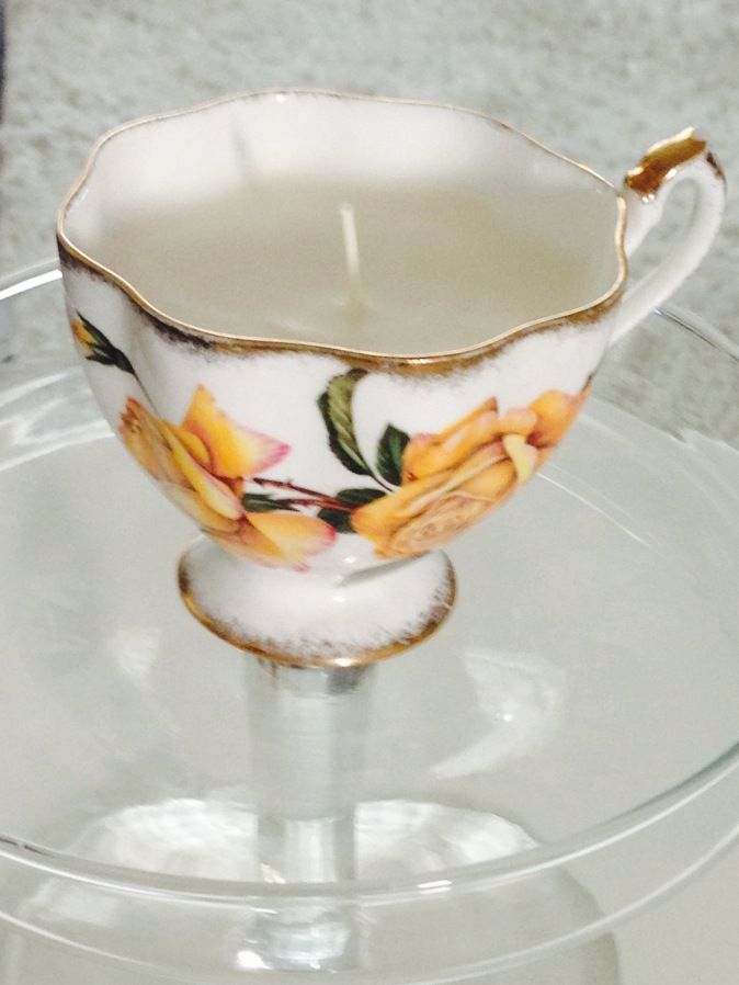 repurpose vintage teacups~ for this redo I used soy wax flakes, melted to form a candle, love and light