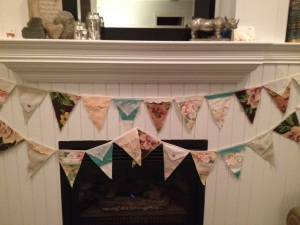 ~ create a pennant banner using barkcloth, vintage tablecloths, lace and linen